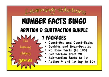 NUMBER FACTS BINGO BUNDLE - 7 PACKAGES - Addition and Subtraction