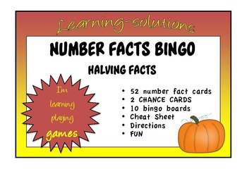 NUMBER FACTS BINGO - Halving Facts (to Half of 50 plus Half of 100)