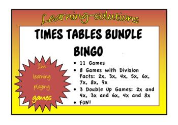 NUMBER FACTS BINGO BUNDLE - 11 PACKAGES - 2x, 3x, 4x, 5x, 6x, 7x, 8x, 9x