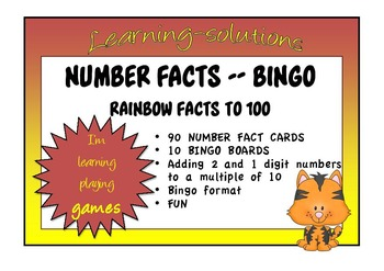 NUMBER FACTS BINGO - Rainbow Facts to a  multiple of 10 to 100