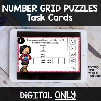 NUMBER GRID PUZZLES Digital Task Cards ONLY for use with Google™ Drive