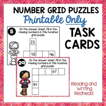 HUNDREDS NUMBER GRID PUZZLES  Printable ONLY Task Cards