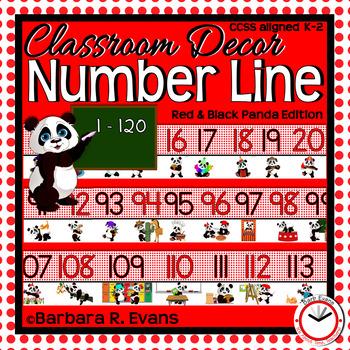 NUMBER LINE 1-120 Panda Theme Classroom Decor Red Black