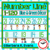 NUMBER LINE 1-120 POSTERS Blue Green Theme Classroom Decor Number Order