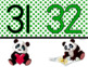 NUMBER LINE POSTERS 1-120: Classroom Decor, Green & Black, Panda Theme