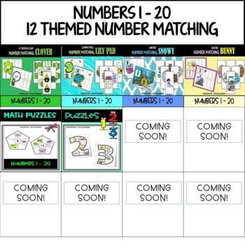 Counting 1-10 20 Laminated cards Apple Seed Number Match Card Set