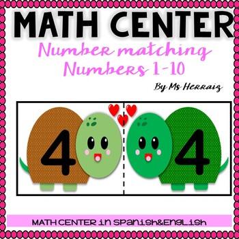 NUMBER MATCHING activity Valentine's Center. Spanish&English prek-kinder