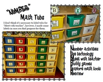 NUMBER Math Tub Labels