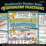 NUMBER NOTES ★ Equivalent Fractions Worksheets & Doodling Activity   3rd Grade
