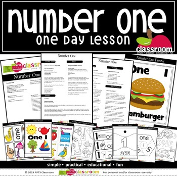 NUMBER ONE Preschool PreK Kindergarten 1 One Day Lessons Plan