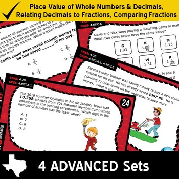 NUMBER & OPERATIONS BUNDLE ~ MATH READY 4th Grade Task Cards: 8 Basic & Advanced