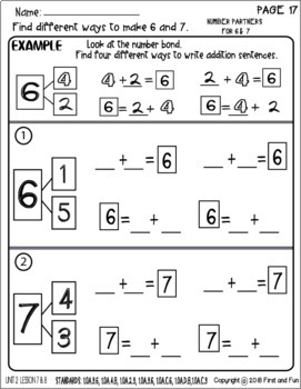 NUMBER PARTNERS FOR 6 & 7 UNIT 2 LESSON 7 i READY MATH ...