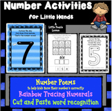 NUMBER ACTIVITIES FOR LITTLE HANDS: Worksheets, cut & past