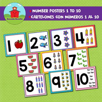 NUMBER POSTERS 1-10. /  CARTELONES CON LOS NUMEROS DEL 1 al 10