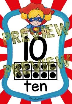 SUPERHERO NUMBER POSTERS WITH TEN FRAMES (SUPERHERO THEME TEN FRAME POSTERS 1-10