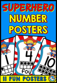 SUPERHERO NUMBER POSTERS WITH TEN FRAMES (SUPERHERO THEME