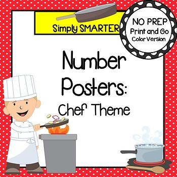 NUMBER POSTERS:  CHEF THEME