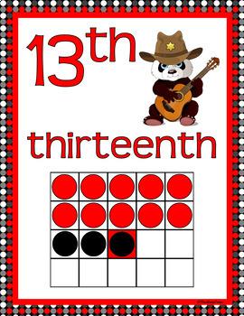 NUMBER POSTERS 1-20: Classroom Decor, Red & Black Scheme, Panda Theme