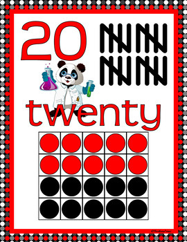 NUMBER POSTERS 1-20: Classroom Decor, Red & Black Scheme, Panda Theme