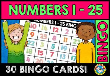 NUMBER RECOGNITION ACTIVITIES (NUMBERS 1-25 BINGO GAME FOR