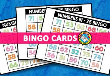 NUMBER RECOGNITION ACTIVITIES (NUMBERS 51-75 BINGO GAME FOR WHOLE CLASS)
