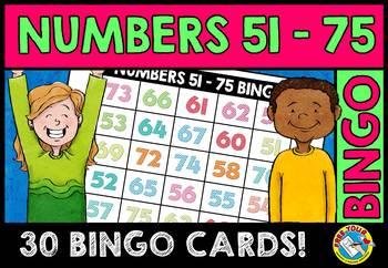 NUMBER RECOGNITION ACTIVITIES (NUMBERS 51-75 BINGO GAME FO