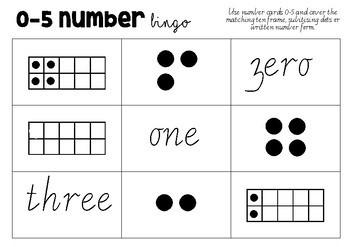 NUMBER RECOGNITION BINGO (0-5 AND 0-9)