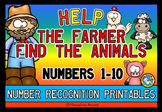 NUMBER RECOGNITION 1-10 WORKSHEETS