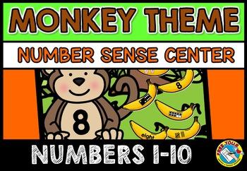 KINDERGARTEN NUMBER SENSE MATH CENTER ACTIVITY (MONKEY THEME)
