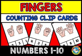 NUMBER SENSE MATH CENTER ACTIVITIES (KINDERGARTEN COUNTING FINGERS CLIP CARDS)