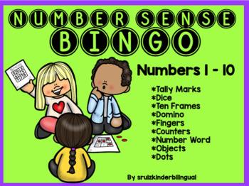 NUMBER SENSE BINGO numbers 1 - 10 Kindergarten