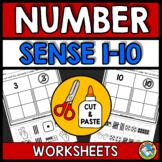 NUMBER SENSE WORKSHEETS KINDERGARTEN (CUT AND PASTE ACTIVITIES)