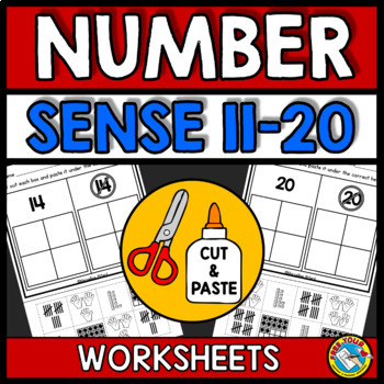 TEEN NUMBERS KINDERGARTEN (CUT AND PASTE WORKSHEETS MATH 11-20)
