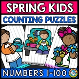 ORDER COUNT NUMBER SEQUENCE 100 SPRING ACTIVITY KINDERGARTEN MAY MATH PUZZLES