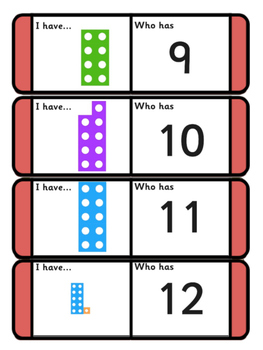 NUMBER SHAPES, I HAVE WHO HAS GAME