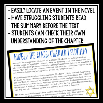 NUMBER THE STARS CHAPTER SUMMARY CARDS