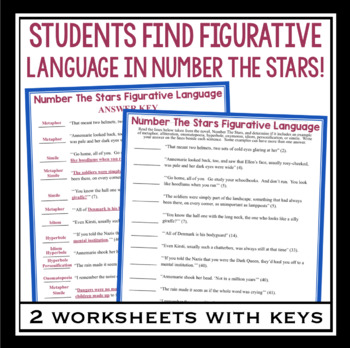 NUMBER THE STARS FIGURATIVE LANGUAGE ASSIGNMENTS