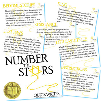 NUMBER THE STARS Journal - Quickwrite Writing Prompts - PowerPoint