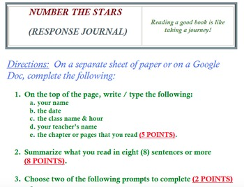 NUMBER THE STARS (RESPONSE JOURNAL)