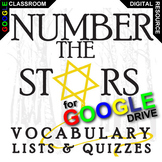 NUMBER THE STARS Vocabulary List and Quiz Assessment (Created for Digital)