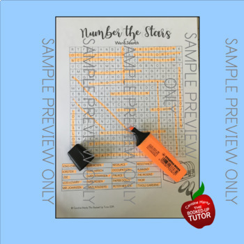 NUMBER THE STARS WORD SEARCH {NUMBER THE STARS ACTIVITIES}