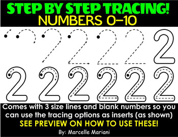 NUMBER TRACING CLIP ART- STEP BY STEP CORRECT NUMBER FORMATION TRACING