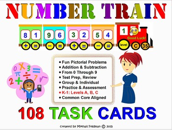ADDITION & SUBTRACTION 108 Task Cards. K-1 Common Core Aligned Printouts.