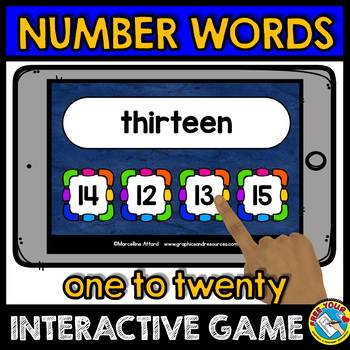NUMBER WORDS 1-20 ACTIVITIES (NUMBER WORDS MATCHING GAME 2 BOOM CARDS)
