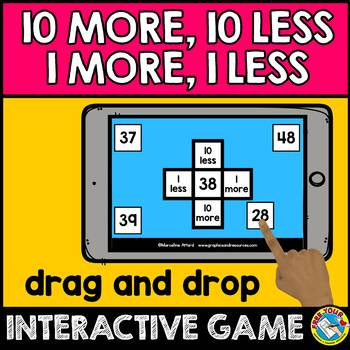 BOOM CARDS MATH (FIRST GRADE HUNDREDS CHART PUZZLES) 10 MORE 10 LESS GAME