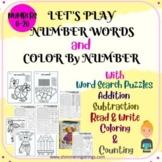 NUMBER WORDS PRACTICE and COLOR BY NUMBER Worksheets Bundl