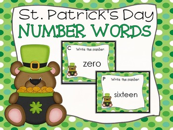 St. Patrick's Day Number Words Task Cards