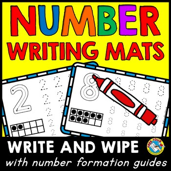 NUMBER WRITING MATS (WRITE AND WIPE CARDS) PRE K NUMBER FORMATION CARDS