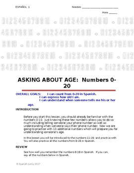 Spanish Numbers 0-20: ASKING ABOUT AGE