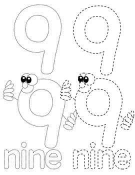 NUMBERS 0-20 TRACING CLIP ART